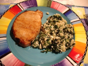Quinoa with spinach and feta & garlic soy pork chop